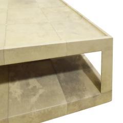 Karl Springer Karl Springer Triangular Leg Coffee Table In Lacquered Goatskin 1980s - 1704305