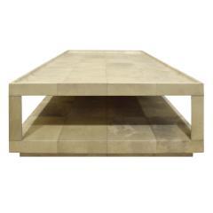 Karl Springer Karl Springer Triangular Leg Coffee Table In Lacquered Goatskin 1980s - 1704306