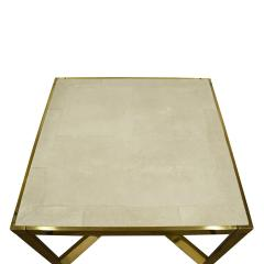 Karl Springer Karl Springer Triangular Leg Metal End Table with Shagreen Top 1980s Signed  - 1674456
