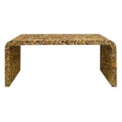 Karl Springer Karl Springer Waterfall Console Table in Lacquered Tessellated Horn 1970s - 1921951