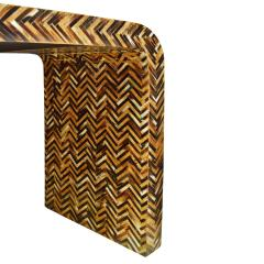 Karl Springer Karl Springer Waterfall Console Table in Lacquered Tessellated Horn 1970s - 1921952