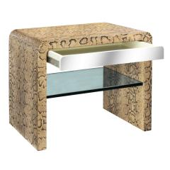 Karl Springer Karl Springer Waterfall Side Table in Python with Stainless Steel Drawer 1970s - 1900322
