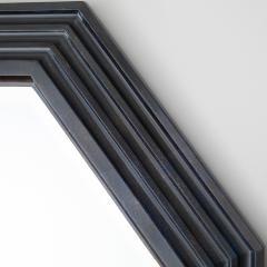 Karl Springer Karl Springer octagonal mirror in a faux lapis lacquer finish circa 1989 - 757602