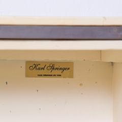 Karl Springer LTD Karl Springer Ltd Dry Bar Service Cabinet Lacquered Goatskin Parchment 1980 - 1887322