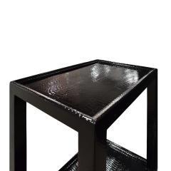 Karl Springer LTD Karl Springer Pair Of Telephone Tables In Lacquered Black Cobra 1990s Signed  - 1507141