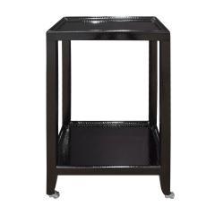 Karl Springer LTD Karl Springer Pair Of Telephone Tables In Lacquered Black Cobra 1990s Signed  - 1507144
