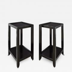 Karl Springer LTD Karl Springer Pair Of Telephone Tables In Lacquered Black Cobra 1990s Signed  - 1509812