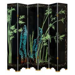 Karl Springer Large 6 Panel Artisan Chinese Screen Sold Through Karl Springer 1980s - 2131283