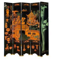 Karl Springer Large 6 Panel Artisan Chinese Screen Sold Through Karl Springer 1980s - 2131284