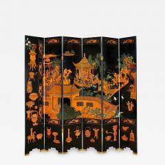 Karl Springer Large 6 Panel Artisan Chinese Screen Sold Through Karl Springer 1980s - 2131917