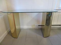 Karl Springer Lovely Brass Half Cylinder Console Table Mid Century modern Karl Springer style - 1033547