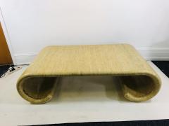 Karl Springer MODERN GRASSCLOTH SCROLL COFFEE TABLE - 1133515
