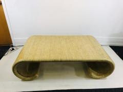 Karl Springer MODERN GRASSCLOTH SCROLL COFFEE TABLE - 1133517