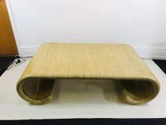 Karl Springer MODERN GRASSCLOTH SCROLL COFFEE TABLE - 1133520