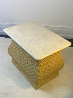 Karl Springer MODERN PAIR OF TRAVERTINE AND WICKER CORSETTED TABLES - 1688206