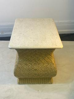 Karl Springer MODERN PAIR OF TRAVERTINE AND WICKER CORSETTED TABLES - 1688207