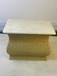Karl Springer MODERN PAIR OF TRAVERTINE AND WICKER CORSETTED TABLES - 1688208