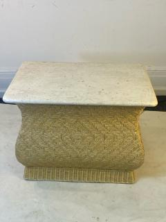 Karl Springer MODERN PAIR OF TRAVERTINE AND WICKER CORSETTED TABLES - 1688209