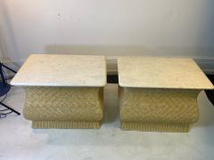Karl Springer MODERN PAIR OF TRAVERTINE AND WICKER CORSETTED TABLES - 1688211
