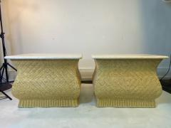 Karl Springer MODERN PAIR OF TRAVERTINE AND WICKER CORSETTED TABLES - 1688212