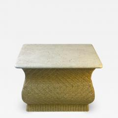 Karl Springer MODERN PAIR OF TRAVERTINE AND WICKER CORSETTED TABLES - 1688910