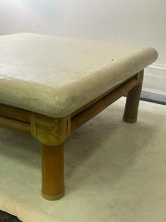 Karl Springer MODERN TRAVERTINE RESIN AND BAMBOO COFFEE TABLE - 2123035