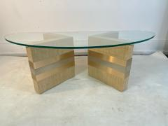 Karl Springer MODERNIST GRASSCLOTH AND TWO TONE METAL COFFEE TABLE - 1951560