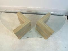 Karl Springer MODERNIST GRASSCLOTH AND TWO TONE METAL COFFEE TABLE - 1951564