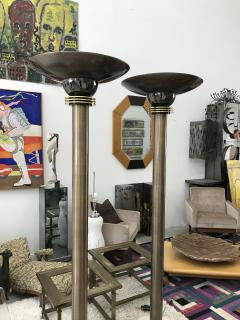 Karl Springer Monumental Pair of 1980s Torchieres Floor Lamps attributed to Karl Springer - 1571436