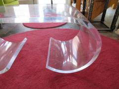 Karl Springer Pair Thick Lucite Scroll Cocktail Coffee Tables style of Karl Springer 1970s - 1697090