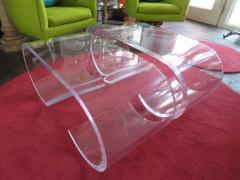 Karl Springer Pair Thick Lucite Scroll Cocktail Coffee Tables style of Karl Springer 1970s - 1697092
