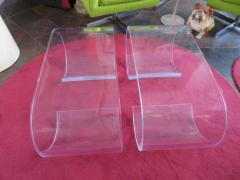 Karl Springer Pair Thick Lucite Scroll Cocktail Coffee Tables style of Karl Springer 1970s - 1697093