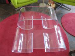 Karl Springer Pair Thick Lucite Scroll Cocktail Coffee Tables style of Karl Springer 1970s - 1697100