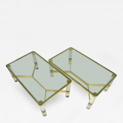 Karl Springer Pair Of Karl Springer Brass And Lucite Cocktail Tables    332365