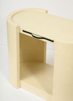 Karl Springer Pair of Karl Springer Embossed Leather Side Tables  - 1041640