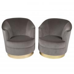 Karl Springer Pair of Karl Springer swivel armchairs with polished brass bases circa 1980s - 964565