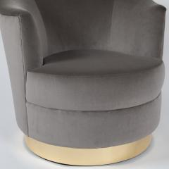Karl Springer Pair of Karl Springer swivel armchairs with polished brass bases circa 1980s - 964577