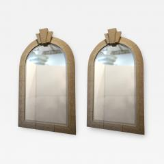 Karl Springer Rare Pair of American Modern Snakeskin and Bronze Mirrors - 1017772