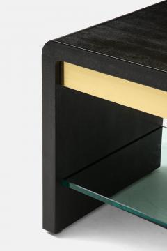 Karl Springer Rare Pair of Waterfall Side Tables in Black Lizard Leather Brass and Glass - 2136792