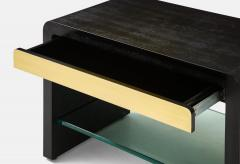 Karl Springer Rare Pair of Waterfall Side Tables in Black Lizard Leather Brass and Glass - 2136794