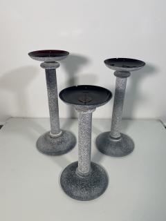 Karl Springer Set of 3 Karl Springer Midcentury Venetian Scavo Glass Candlestick by Seguso - 2074240