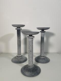 Karl Springer Set of 3 Karl Springer Midcentury Venetian Scavo Glass Candlestick by Seguso - 2074242