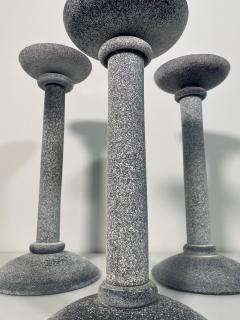 Karl Springer Set of 3 Karl Springer Midcentury Venetian Scavo Glass Candlestick by Seguso - 2074243