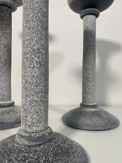 Karl Springer Set of 3 Karl Springer Midcentury Venetian Scavo Glass Candlestick by Seguso - 2074245