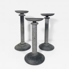 Karl Springer Set of 3 Karl Springer Midcentury Venetian Scavo Glass Candlestick by Seguso - 2075805