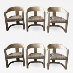 Karl Springer Set of 6 American Modern Goatskin Onassis Chairs - 989561