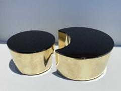 Karl Springer Set of Interlocking Brass and Granite Coffee Tables - 2066832