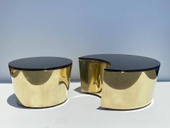 Karl Springer Set of Interlocking Brass and Granite Coffee Tables - 2066841