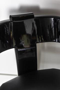 Karl Springer Set of Six American Modern Black Lacquer Ari Chairs style of Karl Springer - 61021