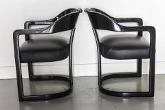 Karl Springer Set of Six American Modern Black Lacquer Ari Chairs style of Karl Springer - 61022